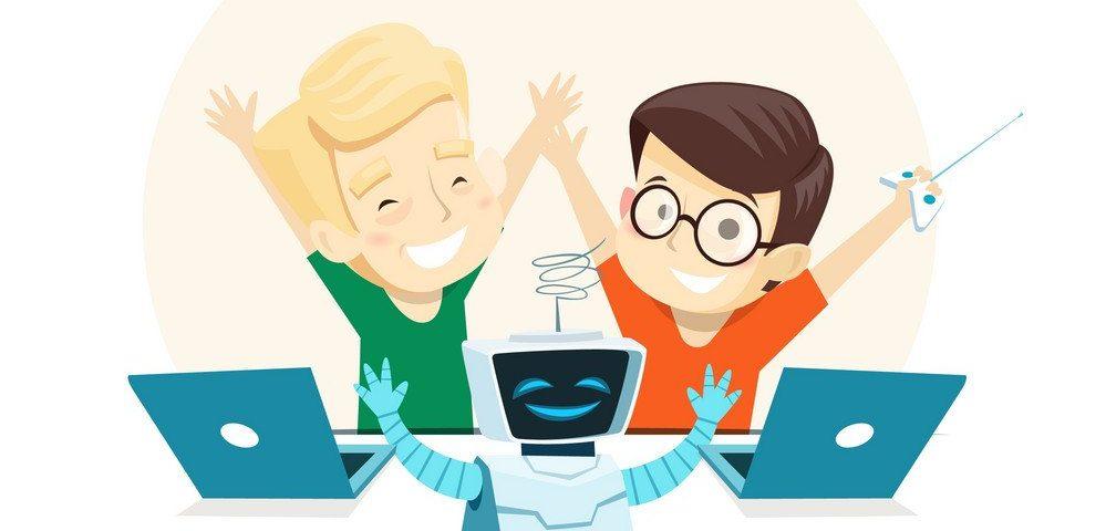 Happy children run the robot in robotics class